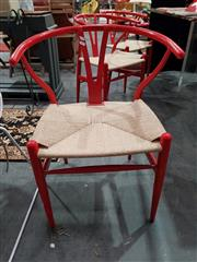 Sale 8893 - Lot 1033 - Set of 6 Red Metal Wishbone Chairs