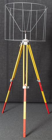 Sale 8984H - Lot 19 - A wombat hollow standard lamp repurposed from a red and yellow surveyors tripod and metal shade frame. Height approx 212cm