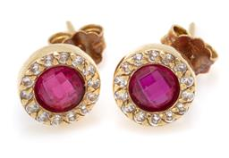 Sale 9107J - Lot 366 - A PAIR OF 18CT GOLD STONE SET STUD EARRINGS; each centring round buff top synthetic ruby surrounded by white stones, size 9mm, wt. 2...