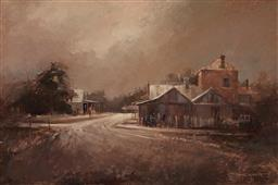 Sale 9109 - Lot 587 - John Lovett (1953 - ) Untitled (Country Town) oil on board 60.5 x 91 cm (frame: 110 x 80 x 4 cm) signed lower right