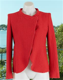 Sale 9120K - Lot 24 - A Giorgio Armani watermelon red jacket; with three red buttons to front, and pink polyester lining, size IT 40