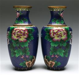 Sale 9138 - Lot 57 - A Pair of Large Enamelled Cloisonne Vases featuring Birds and Flowers (H:31cm)