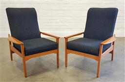 Sale 9188 - Lot 1009 - Pair of Teak framed vintage armchairs with upholstered cushions (h:90 w:70 d:74cm)