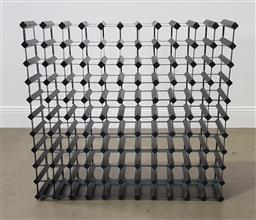 Sale 9255 - Lot 1071 - Large timber and metal wine rack (h:100 x w:108 c d:24cm)