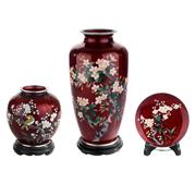 Sale 8000 - Lot 331 - A Japanese cloisonné ginbari prunus blossom baluster vase, plus a smaller vase and dish. (3)