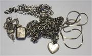 Sale 8036A - Lot 372 - A GROUP OF SILVER JEWWELRY; 2 chains, a bracelet, curb chain with heart pendant and figaro chain with locket.