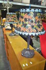 Sale 8175 - Lot 1074 - Pair of Leadlight Shade Table Lamps
