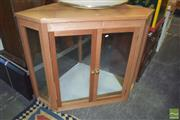 Sale 8331 - Lot 1336 - Possibly Maple Corner Display Cabinet with Two Glass Shelves