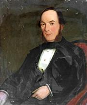 Sale 8442A - Lot 30 - C19th English School - Portrait of a Victorian Gentleman 76 x 63.5cm