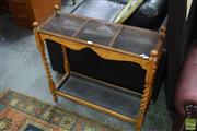 Sale 8500 - Lot 1260 - Timber Hall Table with Glass Top & Barley Twist Supports