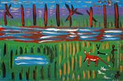 Sale 8647 - Lot 517 - Trevor (Turbo) Brown (1967 - 2015) - Untitled, 2015 (Dingo and Figures in Landscape) 61 x 91.5cm (stretched and ready to hang)