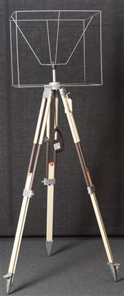Sale 8984H - Lot 20 - A wombat hollow standard lamp repurposed from a brown and white surveyors tripod and metal shade frame. Height approx 202cm