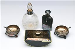 Sale 9098 - Lot 436 - Sterling silver bound ink blotter together with sterling necked perfume bottle and other plated wares