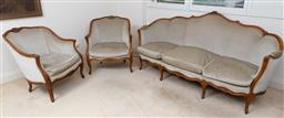 Sale 9140H - Lot 91 - A three piece carved timber lounge suite upholstered in a smoky velvet, comprising two bergeres and three seater lounge, Height of b...