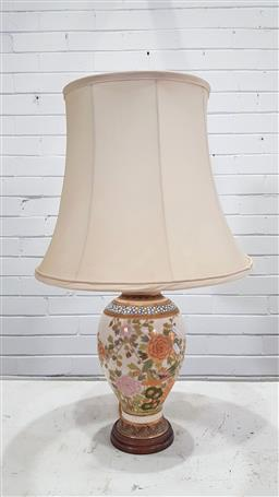 Sale 9162 - Lot 1037 - Satsuma Pottery Table Lamp, of vase form & painted with birds, within bands of flowers & zigzag, fitted a cream fabric shade (h:74cm)