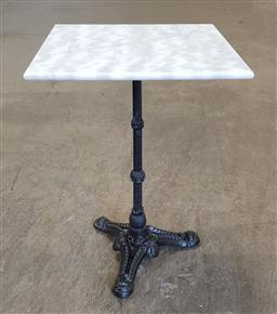 Sale 9188 - Lot 1585 - Marble top table on cast iron base (h:75 x w:50cm2)
