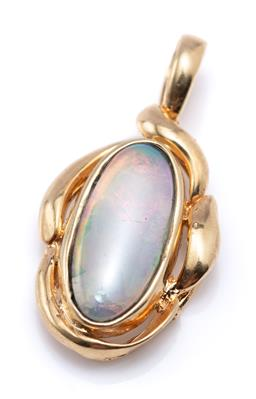 Sale 9194 - Lot 343 - A 14CT GOLD OPAL PENDANT; set with an oval cabochon solid crystal opal, size 23 x 12mm, wt. 2.05g.