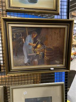 Sale 9176 - Lot 2063 - Terry Cook The Smithies Shop oil on board 29 x 39cm, signed lower left -