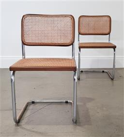 Sale 9255 - Lot 1174 - Pair of canter lever dining chairs (h:82 x w:47 x d:52cm)