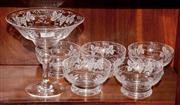 Sale 8107B - Lot 29 - An English Stuart hand etched lead crystal comport with 5 matching bowls