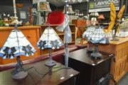 Sale 8175 - Lot 1090 - 2 Pairs of Leadlight Table Lamps & Lady Butterfly Table Lamp (5)