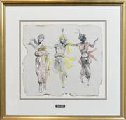 Sale 8301 - Lot 554 - Donald Friend (1915 - 1989) - Balinese Dancers 35 x 39cm