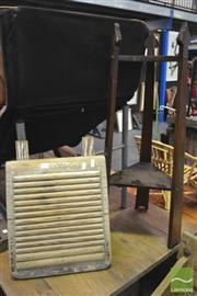 Sale 8326 - Lot 1266 - Tiered Timber Plant Stand & Vintage Timber Washboard