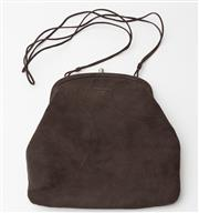 Sale 8550F - Lot 115 - A Prada shoulder bag in dark brown suede with firm clasp and suede thong spaghetti strap, W 21cm.