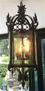 Sale 8568A - Lot 126A - A Gothic style solid bronze lantern, converted to electricty and re-wired to Australian safety standards, H 94 x D 40cm, ex Egypt, C...