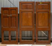 Sale 8677A - Lot 68 - A pair of matching three paneled internal doors, each H 224 x W 79 x D 5.5cm, together with a smaller six paneled door, marked Dini...