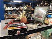 Sale 8759 - Lot 2383 - Group of Sundries incl Picture, Agates, Biscuit Tin etc