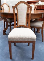 Sale 8815A - Lot 41 - A set of ten burr walnut and upholstered dining chairs with laurel inlay in the Beidermeier taste.