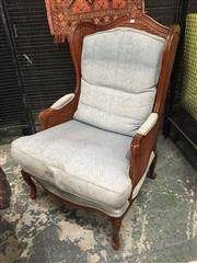 Sale 8889 - Lot 1450 - Louis XV Style Double Rattan Conservatory Chair with Blue Cushions