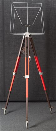 Sale 8984H - Lot 21 - A wombat hollow standard lamp repurposed from a red and brown  surveyors tripod and metal shade frame. Height approx 215cm