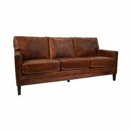 Sale 9123J - Lot 102 - Vintage top grain hand aged leather styled 3 seat sofa with a high back and straight arms. Antique-brass nailheads edge detail (W 18...
