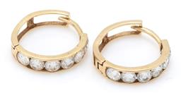 Sale 9164J - Lot 519 - A PAIR OF 9CT GOLD STONE SET HOOP EARRINGS; channel set with brilliant cut zirconias, to lever fittings, size 15mm, wt. 1.86g.