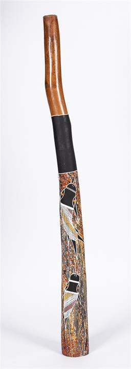 Sale 9170H - Lot 42 - A painted didgeridoo, some losses to paint, Length 124cm