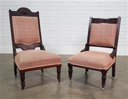 Sale 9188 - Lot 1527A - Matched pair of Edwardian lounge chairs (h: 107 w: 58 d: 54cm)