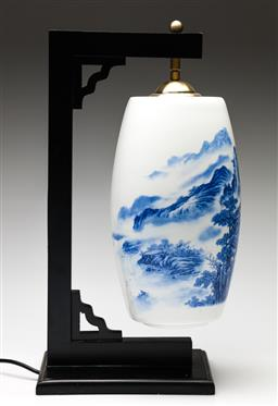 Sale 9238 - Lot 95 - A Chinese blue and white ceramic hanging lamp in timber frame (H:45.5cm)