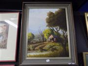 Sale 8429A - Lot 2074 - Collinridge Rivett, Country Scene, oil on board, 50 x 39cm, signed lower right