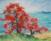 Sale 8475 - Lot 577 - Essie Nangle (1915 - 2006) - Coral Trees, Nambucca Heads 59.5 x 74.5cm