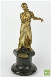 Sale 8481 - Lot 2 - 19th Century Gilt Bronze Statue on Marble Base of Dante