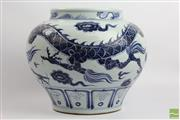 Sale 8501 - Lot 7 - Blue and White Chinese Dragon Pot