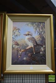 Sale 8509 - Lot 2100 - Falk Kautzner (1954 - )  Kookaburra Ghost Gums, 1995, oil on board, 50 x 38cm, signed and dated lower right