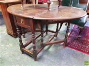 Sale 8559 - Lot 1090 - Early Possibly 18th Century Oak Drop-Leaf Table, with frieze drawer & turned gate-legs