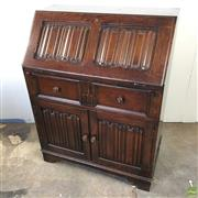 Sale 8649R - Lot 27 - Ornate Oak Drop Front Bureau with Red Leather Insert Top and Gilt Inlay (H: 100 ,W 76cm, D 43cm)