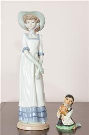 Sale 8774A - Lot 321 - A Nao figure of a girl together with a branksome china figure of a seated girl, taller 32cm