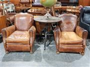 Sale 8765 - Lot 1083 - Pair of Vintage Leather Club Chairs with Studded Trim