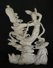 Sale 8857H - Lot 58 - A Carved Marble Chinese Xian Nv Lady Sculpture ,General Wear, Size 70cm H X 51cm Widest,