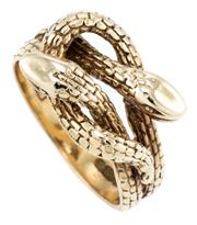 Sale 8915 - Lot 369 - A VINTAGE 9CT GOLD SNAKE RING; entwined snakes, hallmarked SJ, London 1973, size L1/2, wt. 4.18g.